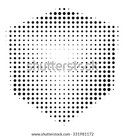 Halftone abstract black dotted three-dimensional cube - stock vector