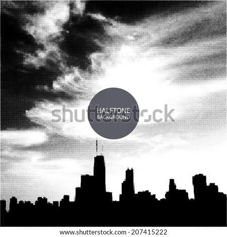 Halftone Background Design - Chicago Skyline - stock vector