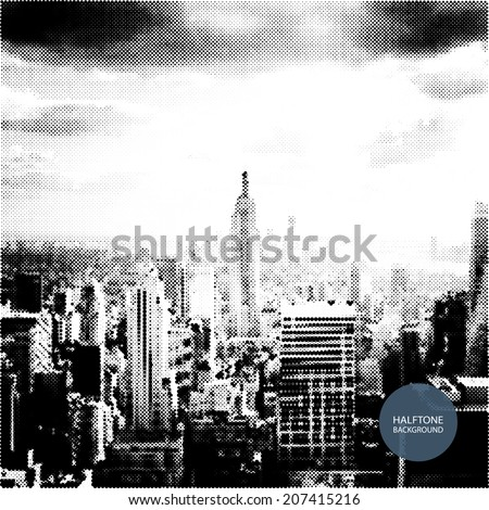 Halftone Background Design - New York Skyline - stock vector