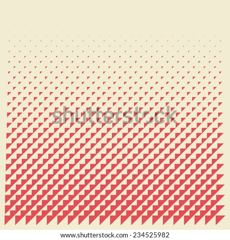 halftone background from red triangles - stock vector