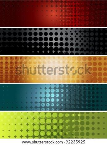 halftone banner set (EPS8-No Transparency) - stock vector