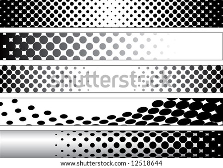 Halftone Black and White Web Banners - stock vector