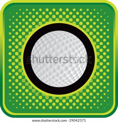 halftone button golf ball - stock vector