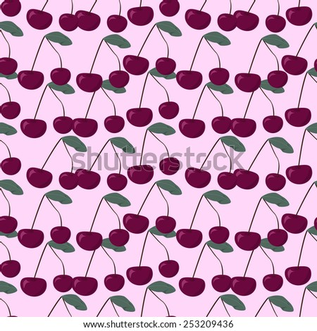 Halftone cherry fruit in pastel shades, seamless pattern, vector illustration - stock vector