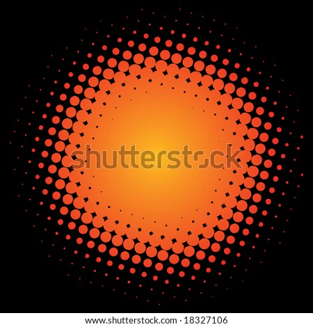 halftone circle - stock vector