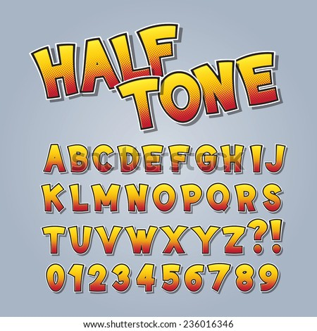 Halftone Comic Pop Art Alphabet and Numbers, Editable eps10 Vector - stock vector