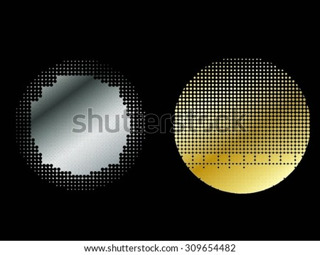 Halftone design elements.Abstract logo design.Golden,silver round shapes.Vector illustration.