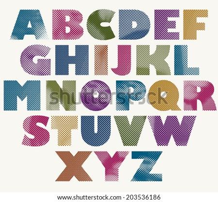 Halftone dots bold font, color pixels print texture letters, vector alphabet. - stock vector