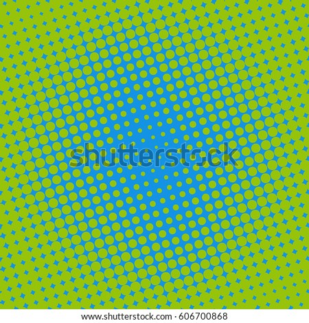 Halftone Dots On Green Background Comic Book