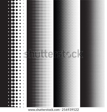 Halftone dots pattern gradient set in vector format - stock vector