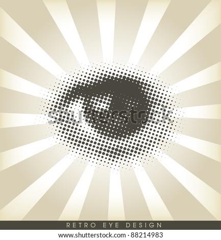 Halftone eye - retro design - stock vector