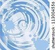 Halftone grunge spiral blue background vector illustration. - stock vector