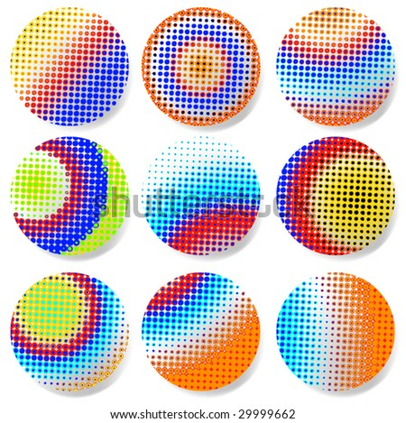halftone pattern balls - stock vector