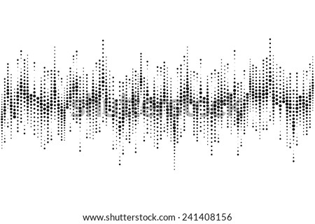 Halftone sound wave pattern modern music design element isolated on white background