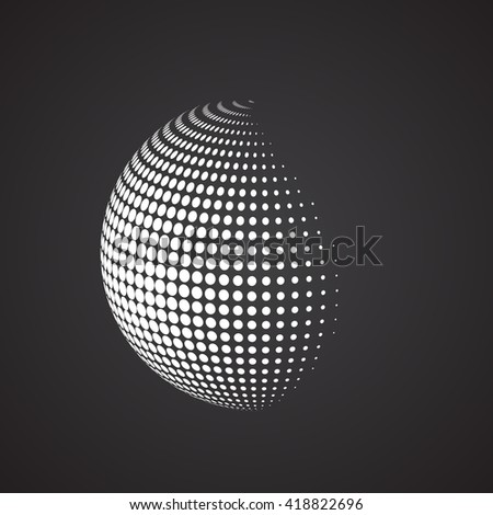 Halftone sphere. Isolated abstract earth logo white color on black background. Dotted globe vector illustration. - stock vector