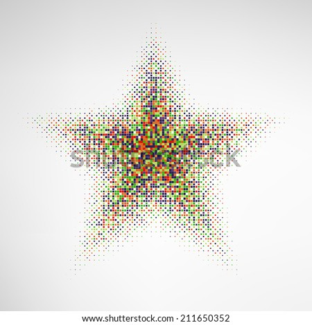 Halftone Star with color square dots. EPS10 vector.
