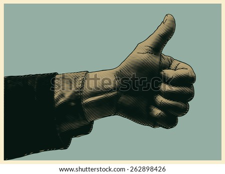 halftone thumbs up symbol. engraved style. vector illustration - stock vector