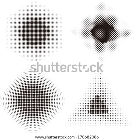Halftone vector design elements. Abstract digital  triangle, square, hexagonal, round label (dotted design series) .You can use to enhance your slogan.  - stock vector