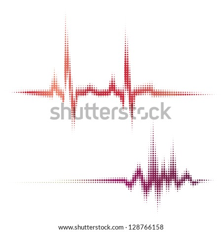 halftone vector heartbeat sound waves. Music round waveform background. You can use in hospital, radio, pub, party, concerts, recitals or the audio technology advertising background.
