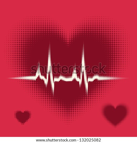 halftone vector heartbeat sound waves on love heart background.