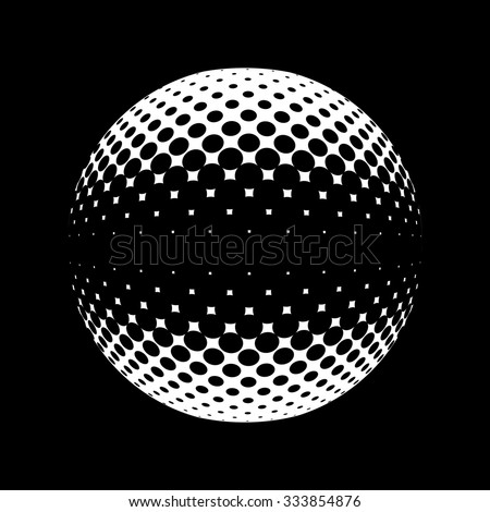 Halftone vector logo template. Set of round icon, abstract globe symbol, business concept. Abstract black dotted sphere. Science and tourism, technology or financial background