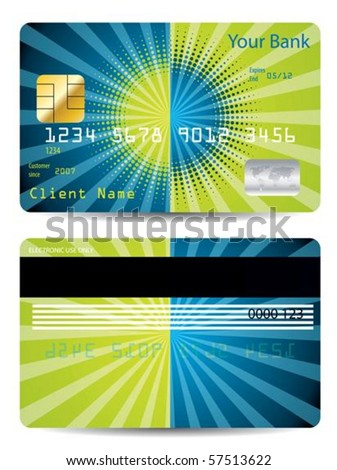Halftone with burst credit card design - stock vector