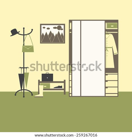Hall interior with big mirror closet with drawers, boxes, coat, hanger with hat, bag, umbrellas, shelving with box, gumshoe, suitcase, high boot on olive floor, painting with sun, clouds and mountains - stock vector