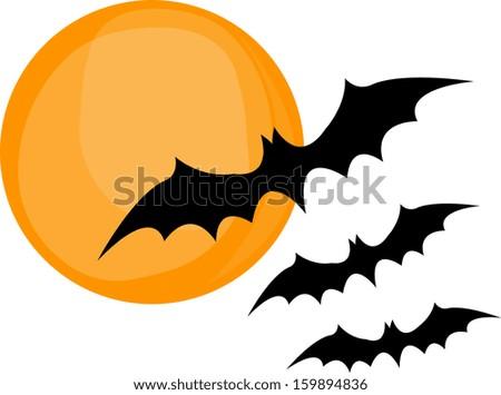 Hallaween three bat  - stock vector