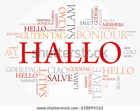 Hallo hello greeting german word cloud stock vector 658894162 hallo hello greeting in german word cloud in different languages of the world m4hsunfo