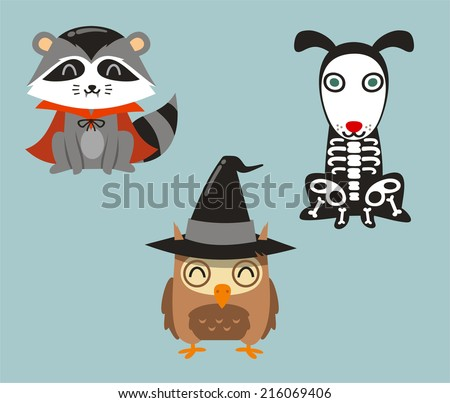 Halloween animals racoon, owl and dog in cartoon costumes - stock vector
