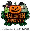 Halloween Approved Character Seal - stock vector