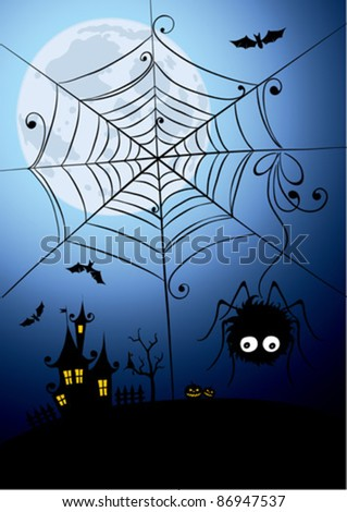 Halloween background - a night spider