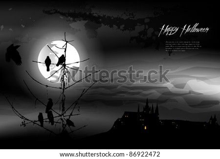 halloween background  - black and white - stock vector