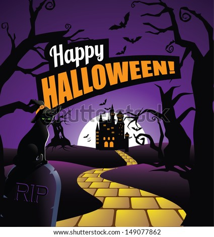 Halloween background greeting card design. Easy to remove message and replace with your own. EPS 10 vector, grouped for easy editing. No open shapes or paths. - stock vector