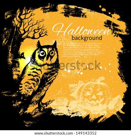 Halloween background. Hand drawn illustration - stock vector