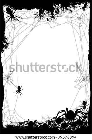 halloween background or invitation - web of spider`s - stock vector