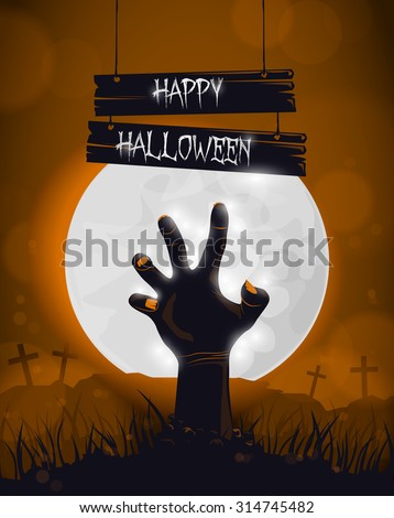 Halloween background, poster for party with zombie dead man's arms from the ground. - stock vector