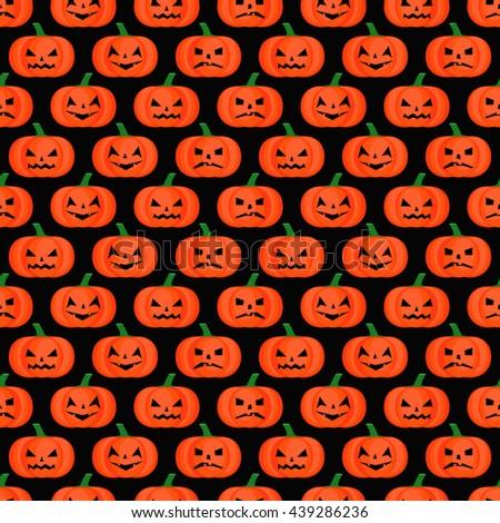 Halloween background. Seamless pumpkin pattern. Happy Halloween concept illustration on black background. - stock vector