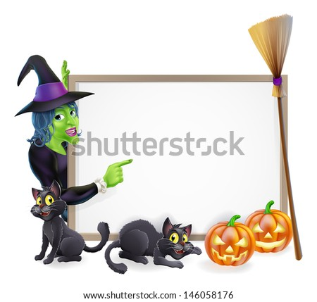 Halloween background sign frame with witch, Halloween pumpkin, witch's black cats and broomstick, copyspace for your text - stock vector