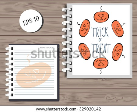 halloween background template for brochure or magazine.modern spiral notebook.Festive halloween design of the title page,the cover of the book.Halloween attributes with funny orange stylized pumpkins - stock vector