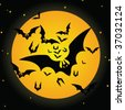 Halloween background with bat and moon - stock photo