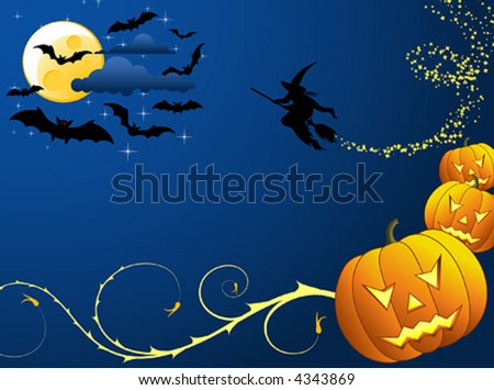 Halloween background with bats, witch & pumpkin, vector illustration