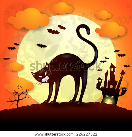 Halloween background with black cat, vector eps 10 - stock vector