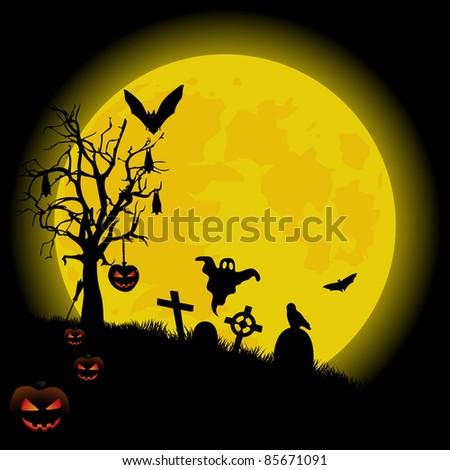 Halloween background with bright full moon. VECTOR