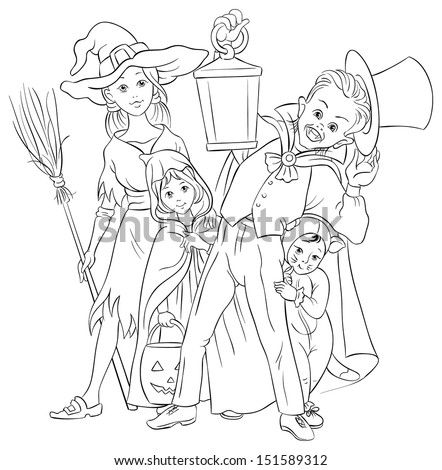 Halloween background with children playing trick or treat in various Halloween costumes. Kids Coloring Page. Also available colored illustration in gallery