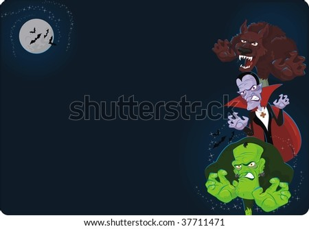 halloween background with classic monsters - stock vector