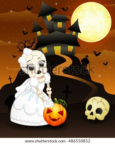 Halloween background with female skull bride holding pumpkin and skull head.Vector illustration