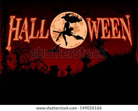 Halloween background with flying witch - stock vector