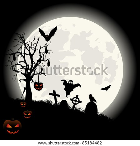 Halloween background with full moon lantern and spooky cemetery. VECTOR
