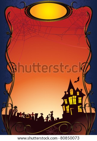 Halloween background with haunted house and graveyard - stock vector